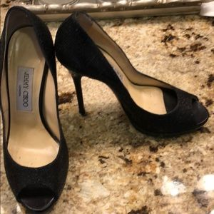 Jimmy Choo 37 glitter heels black open toe